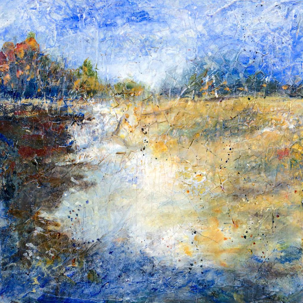 Highly textured abstract landscape of lake scene