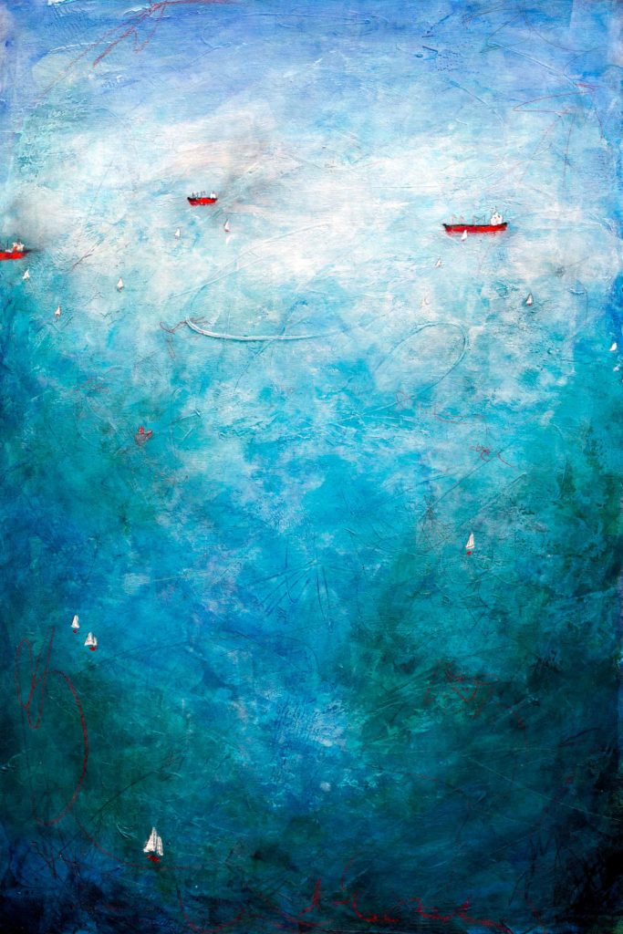Abstract Landscape with ships floating in the ocean