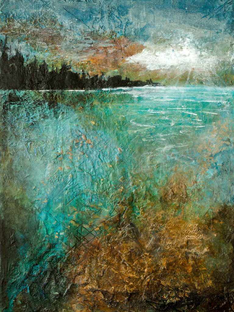The moon rising over the water, landscape by Barb Pearson visual artist