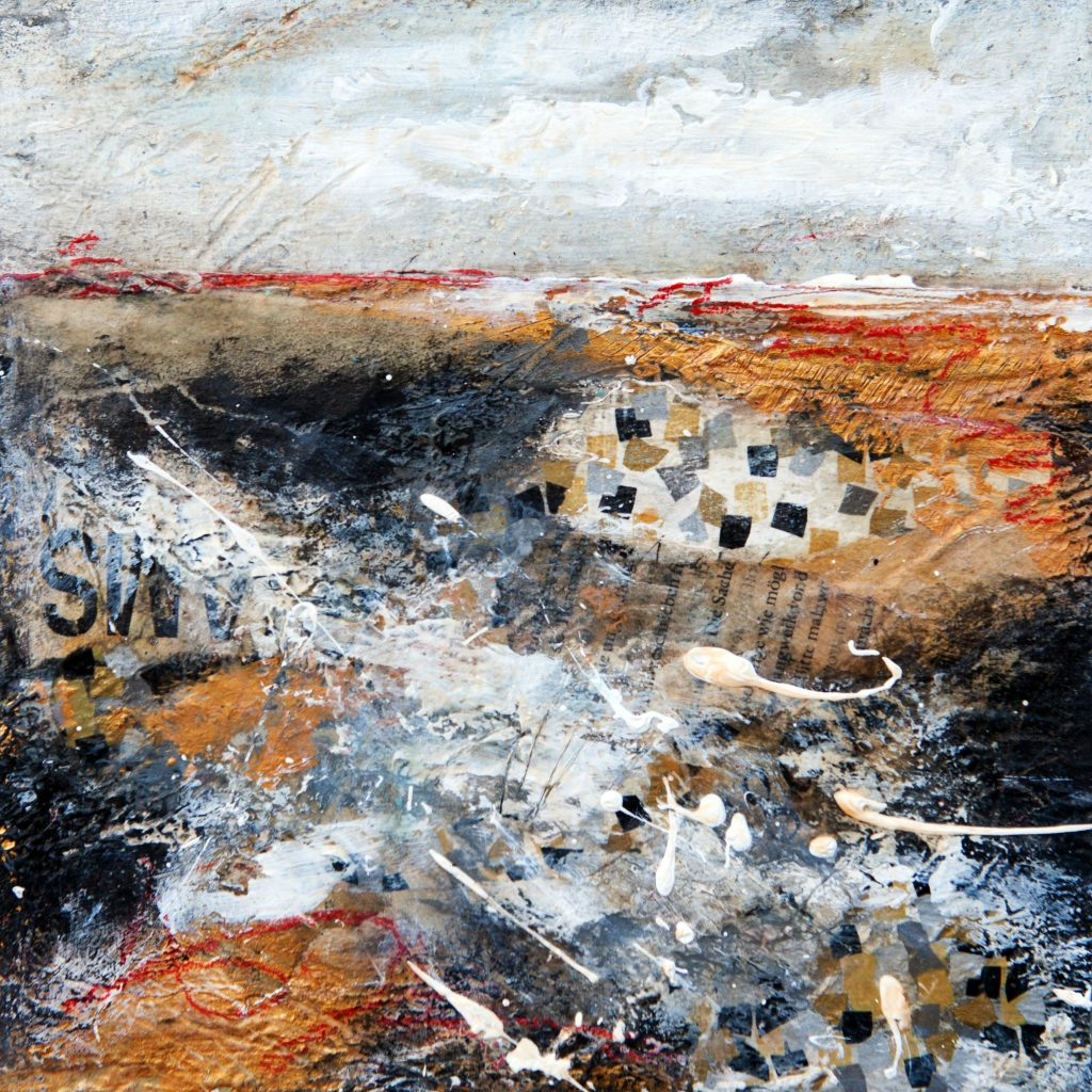 collage, acrylic and texture create this small landscape